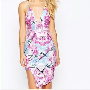 ASOS Ginger Fizz Plunge Front Bodycon Dress
